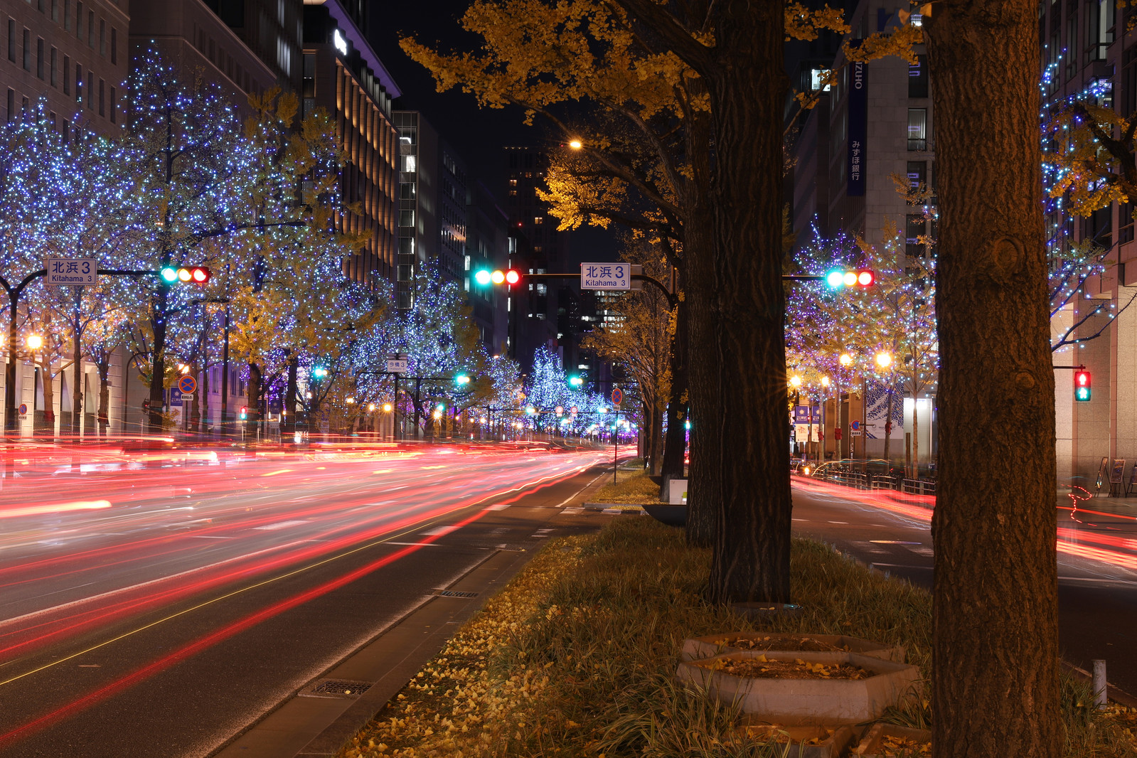 「電飾で彩られた街並みと車の光跡」の写真