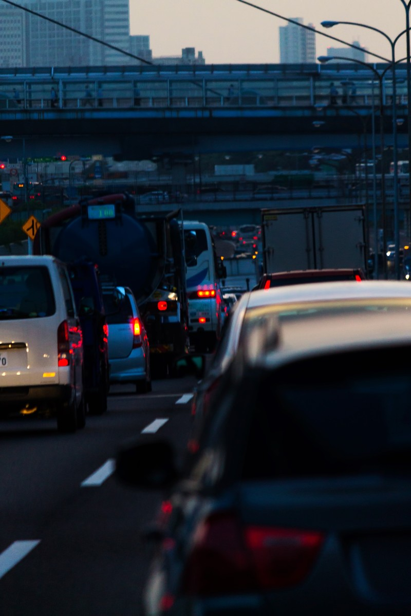 「高速道路渋滞中」の写真
