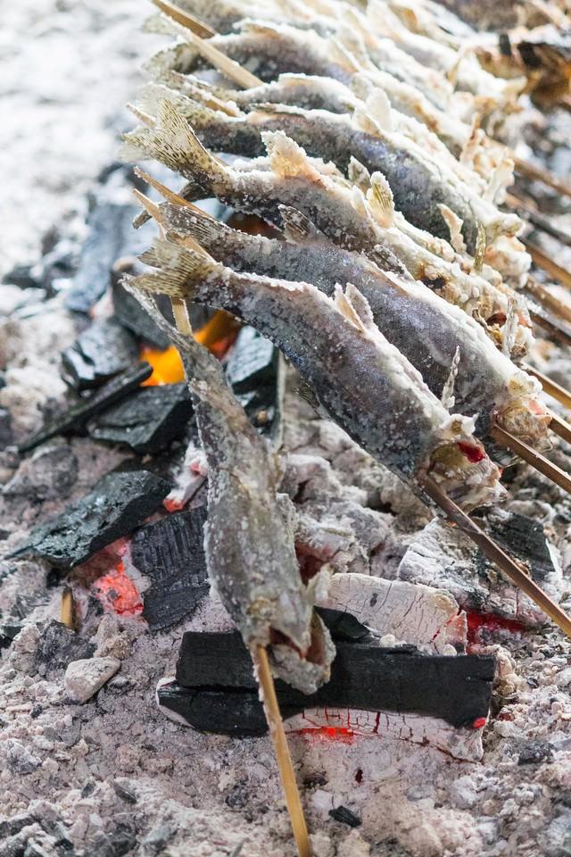 炭火で焼かれるニジマスの写真