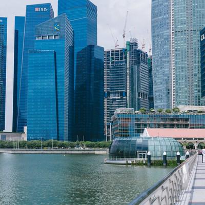 高層ビルとマーライオンパークの遊歩道の写真
