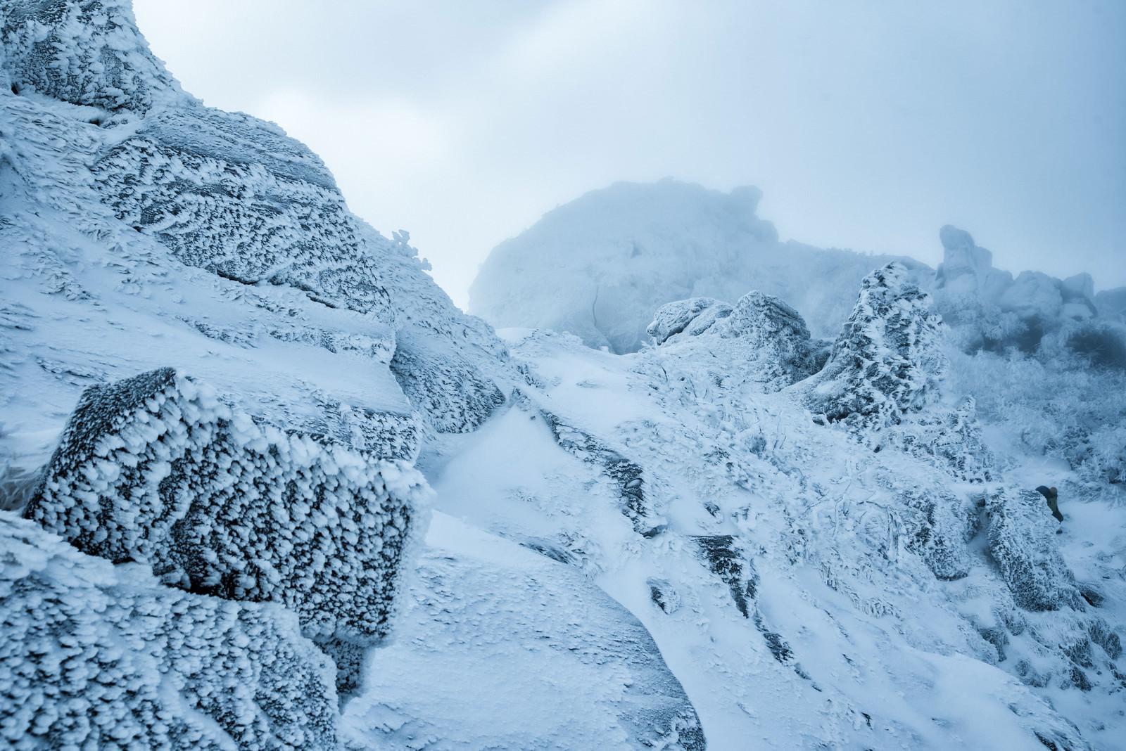 「立ち込めるガスで視界不良の雪山」の写真