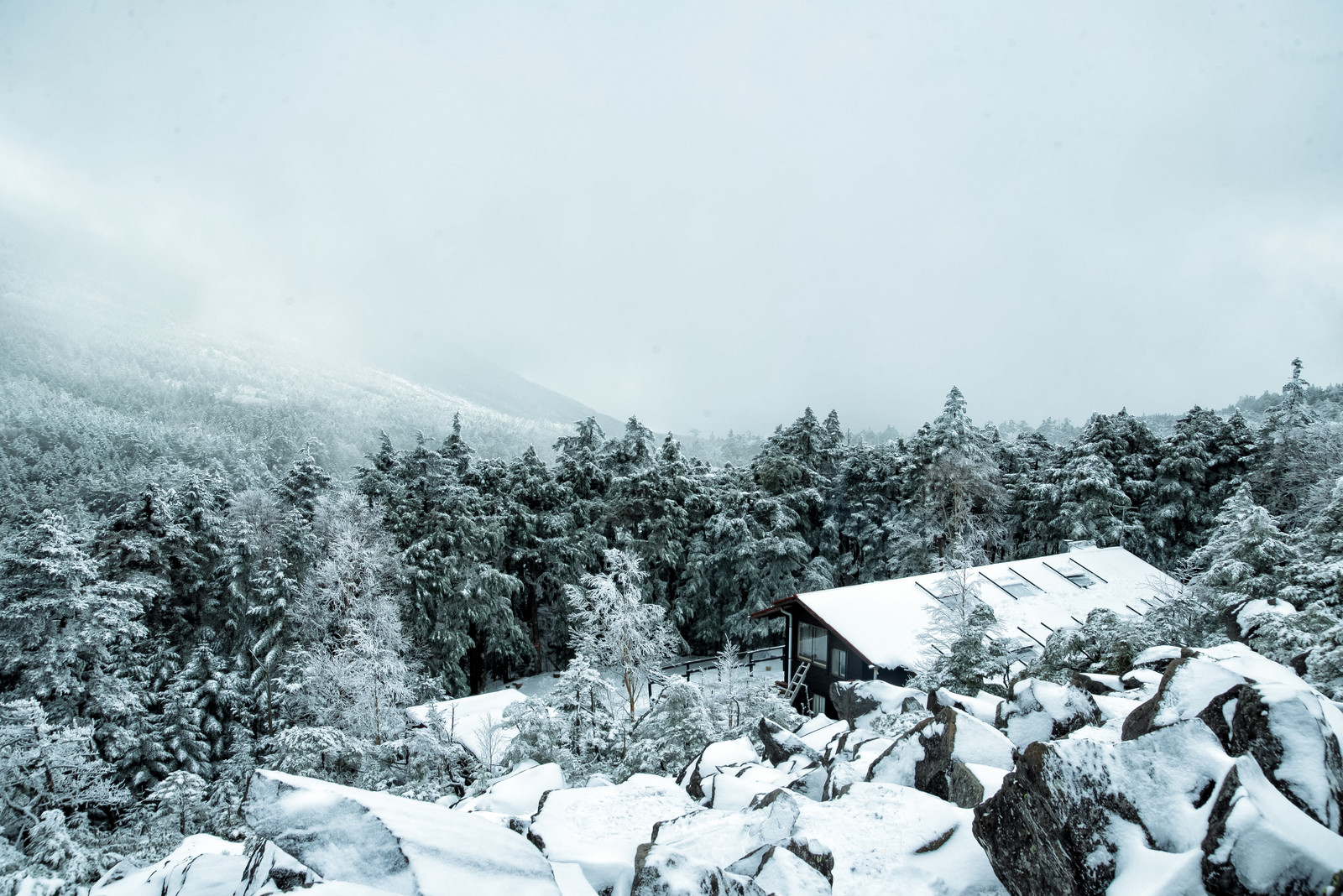 「視界不良の雪山と雪に覆われた高見石小屋」の写真