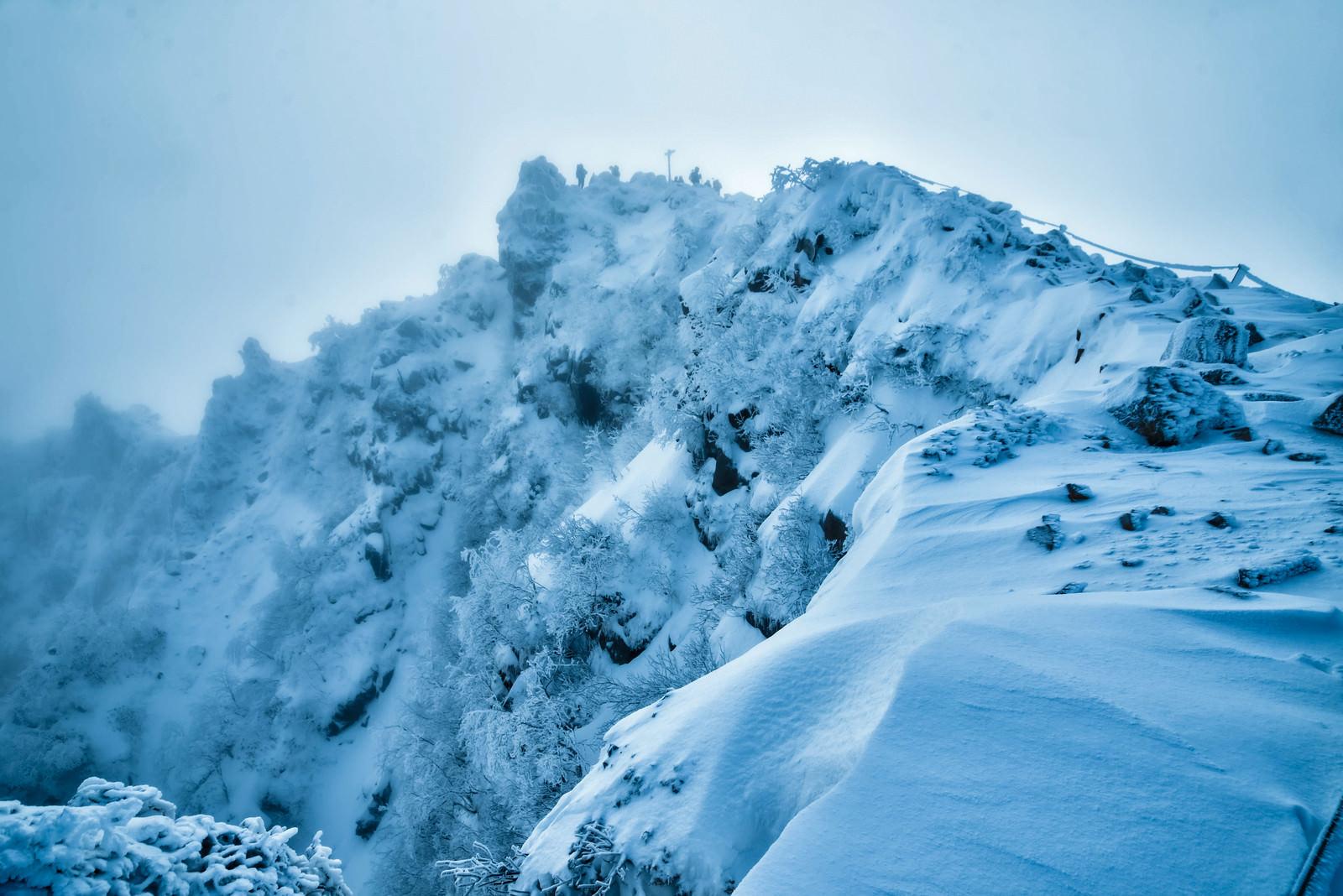 「霧に巻かれた視界不良の東天狗岳の山頂(長野県)」の写真