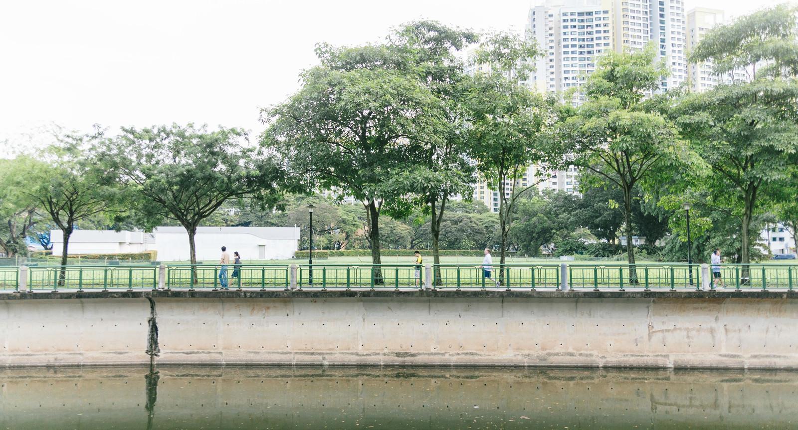 「川沿いを散歩する人」の写真