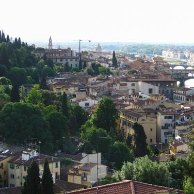 自然に囲まれたフィレンツェの街並み(イタリア)の写真