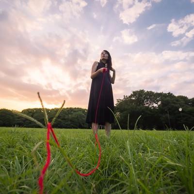 「彼女に赤い糸(首輪)をつけられた彼氏の目線」の写真素材