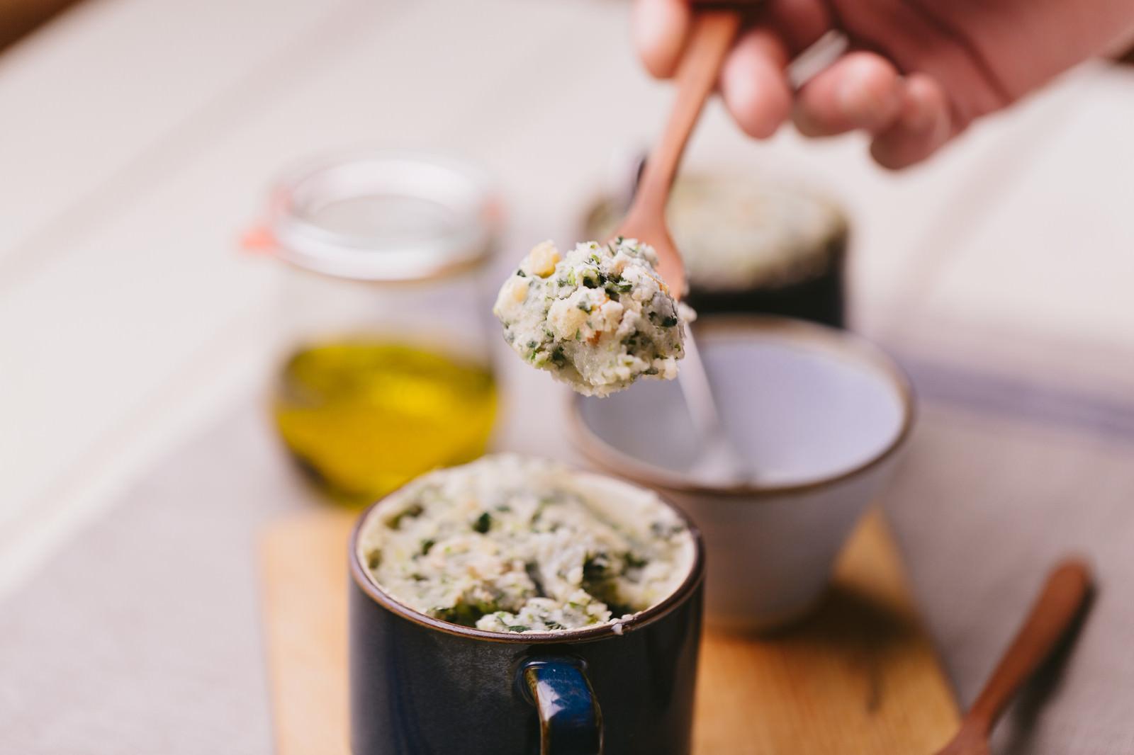 「クルミとほうれん草のもちっと蒸しパン」の写真