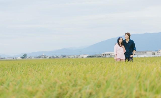 夫婦二人三脚で育てた稲の写真
