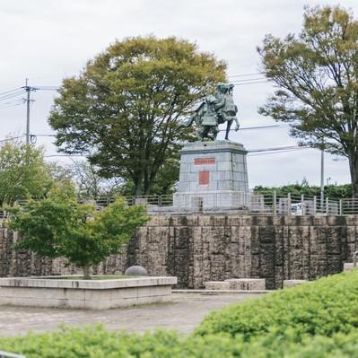 「大刀洗公園(中央:菊池武光像)」の写真素材