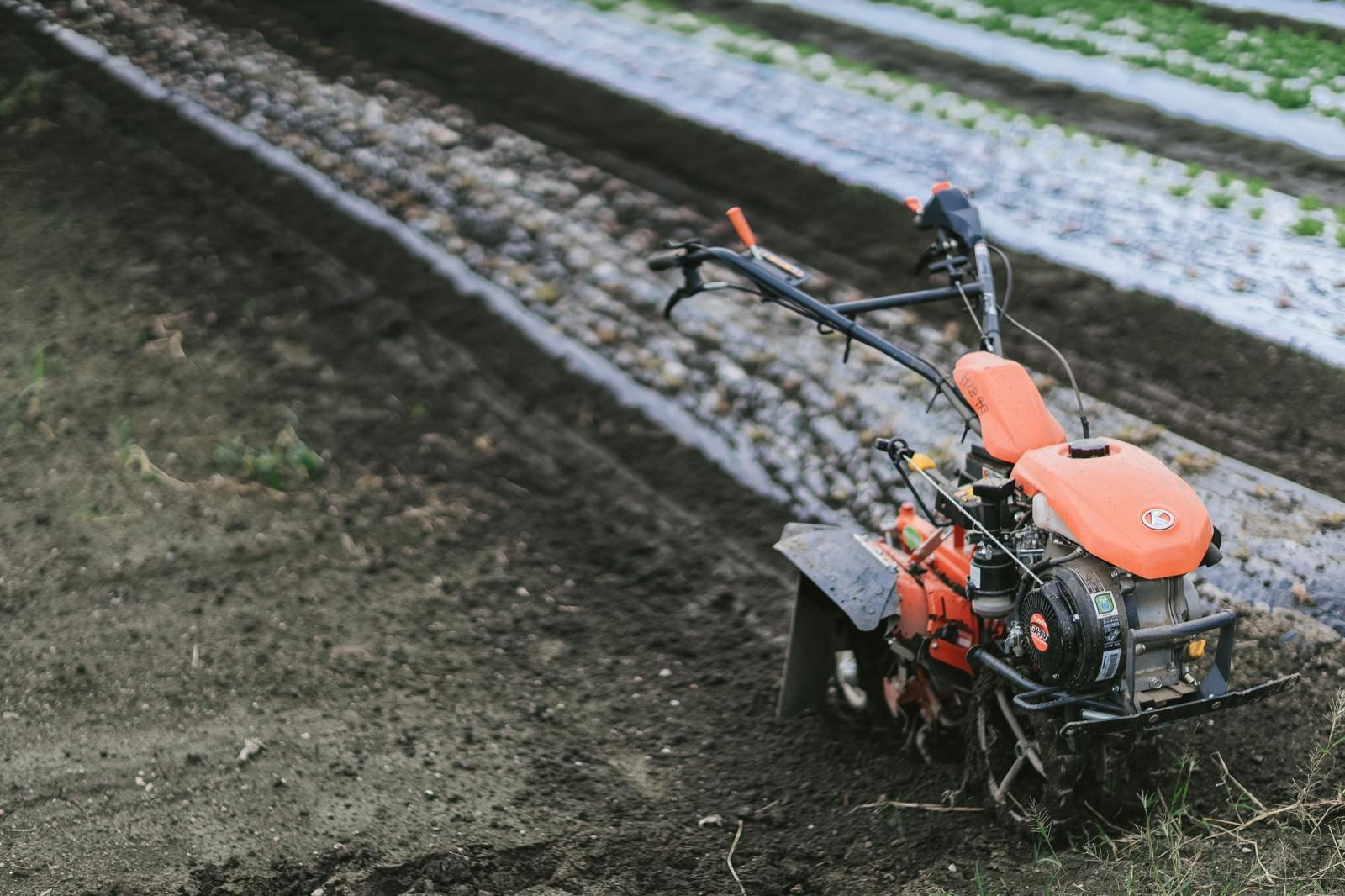 「畑と耕運機」の写真