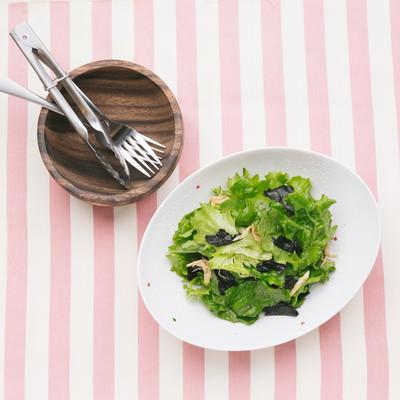 「サラダを取り分ける」の写真素材