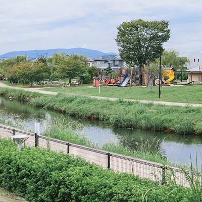 「中央に小川がある大刀洗公園の様子」の写真素材