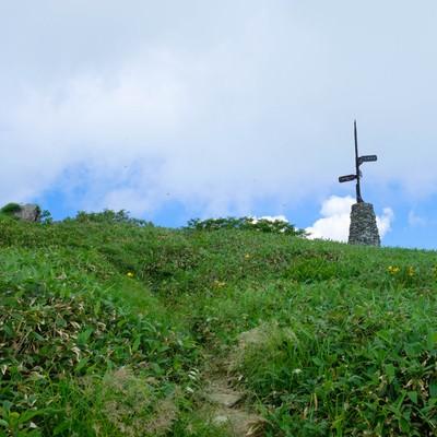 登山道に佇む道標の写真