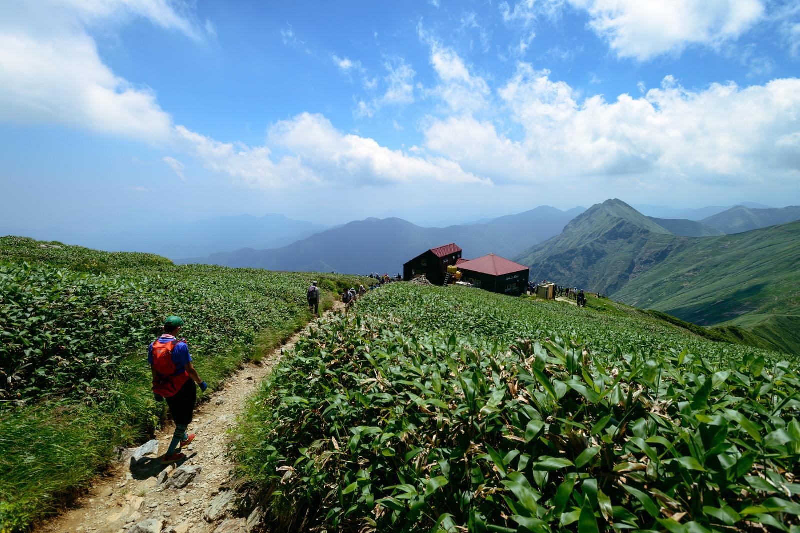 「谷川の尾根を歩き山小屋を目指す登山者達」の写真