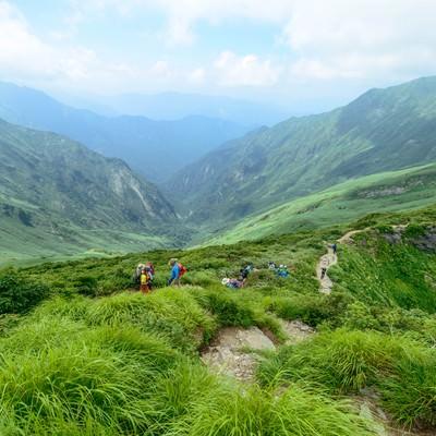 谷川連峰オキの耳へ続く登山道の写真