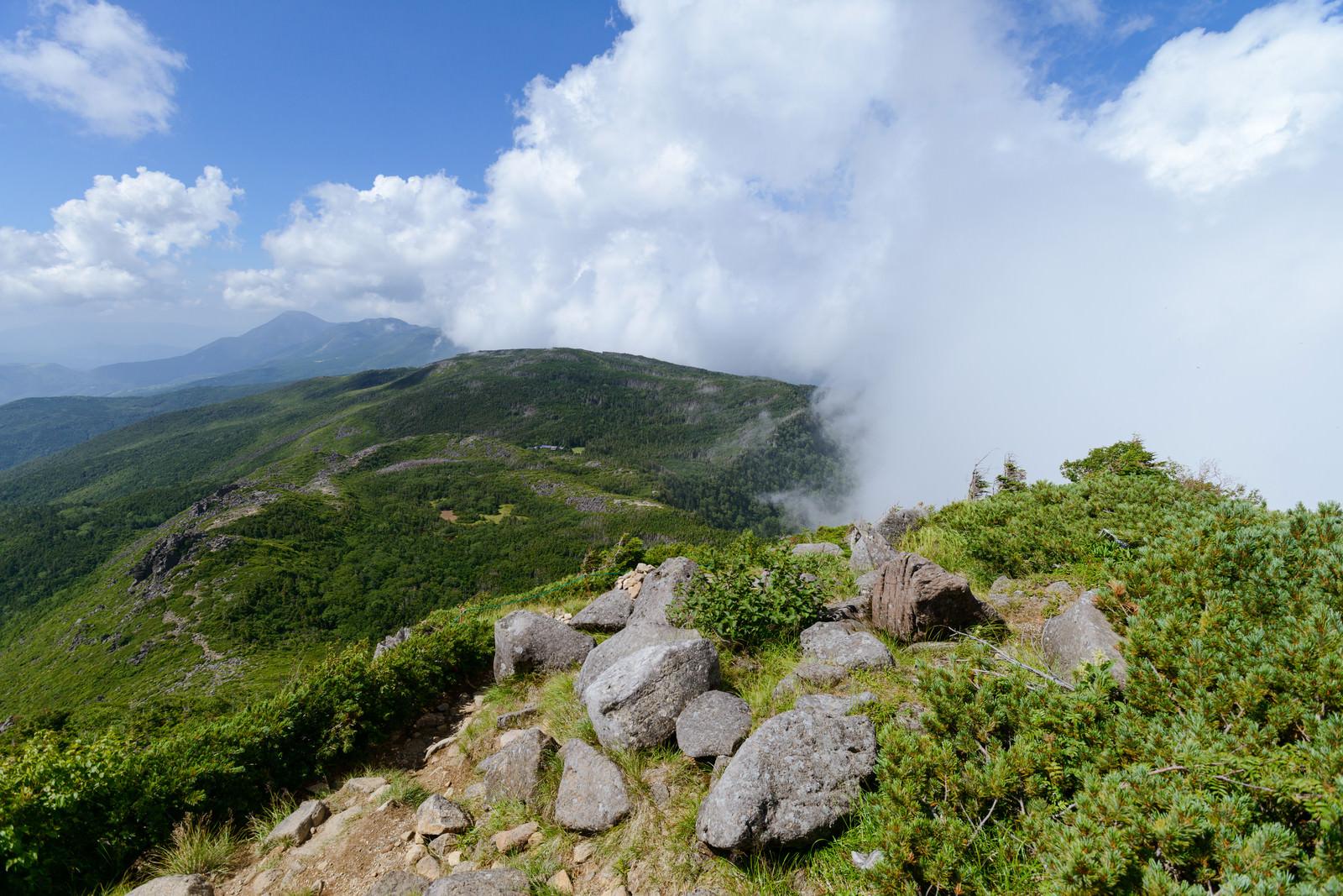 「岩が残る登山道と雲がかかる天狗ノ奥庭(天狗岳)」の写真