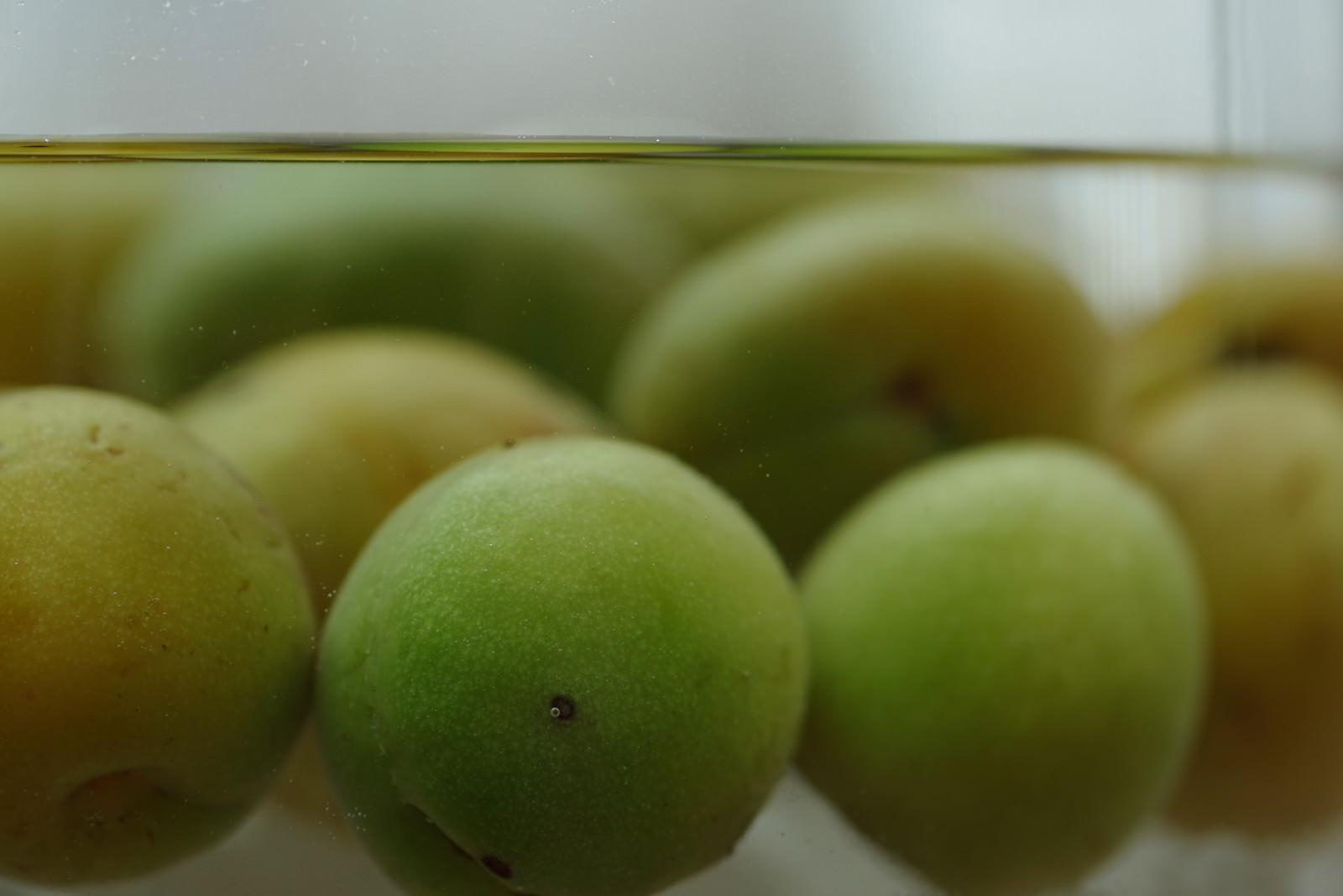 「ガラスの瓶に梅を漬ける」の写真