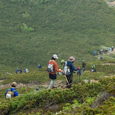 乗鞍新登山道を歩く登山者達の写真