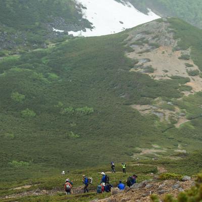 傾斜のある登山道を下山する登山者の列の写真
