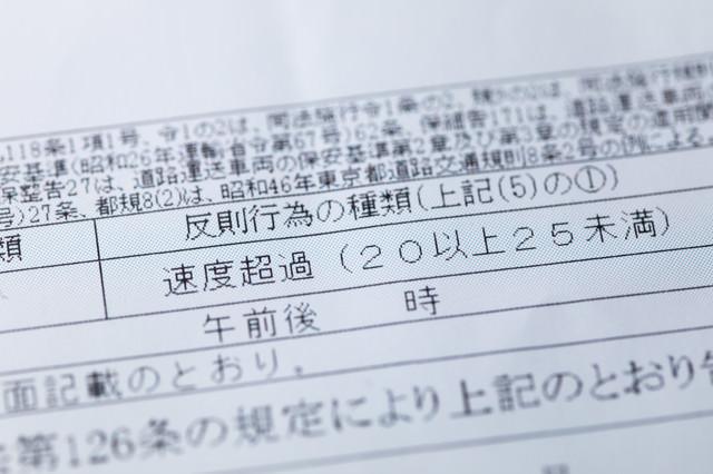 速度超過(20以上25未満)の違反切符の写真