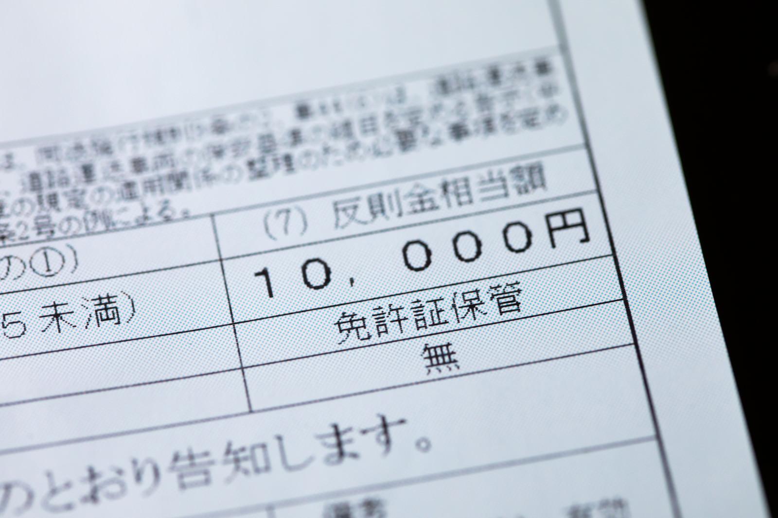 「スピード違反の反則金 10,000円スピード違反の反則金 10,000円」のフリー写真素材を拡大
