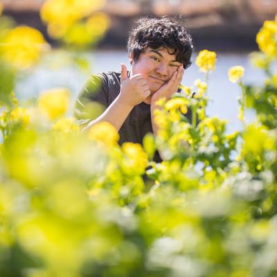 「菜の花畑とサムズアップ」の写真素材