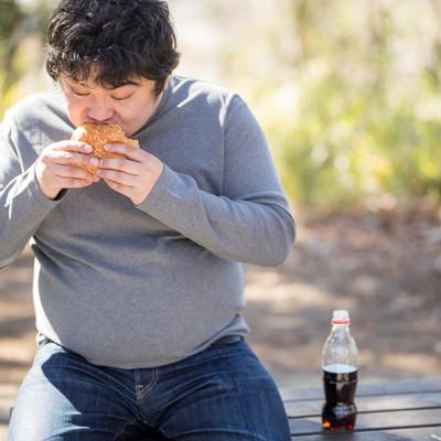 ジャンクフードにハマってしまう男性(メタボ・肥満)の写真