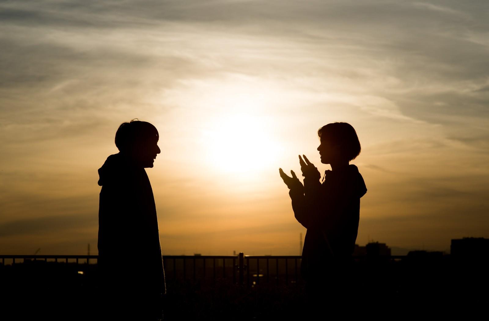 「夕焼けシルエットの男女夕焼けシルエットの男女」のフリー写真素材を拡大