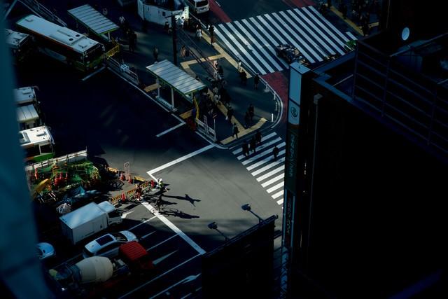 渋谷駅工事の交通整理の写真