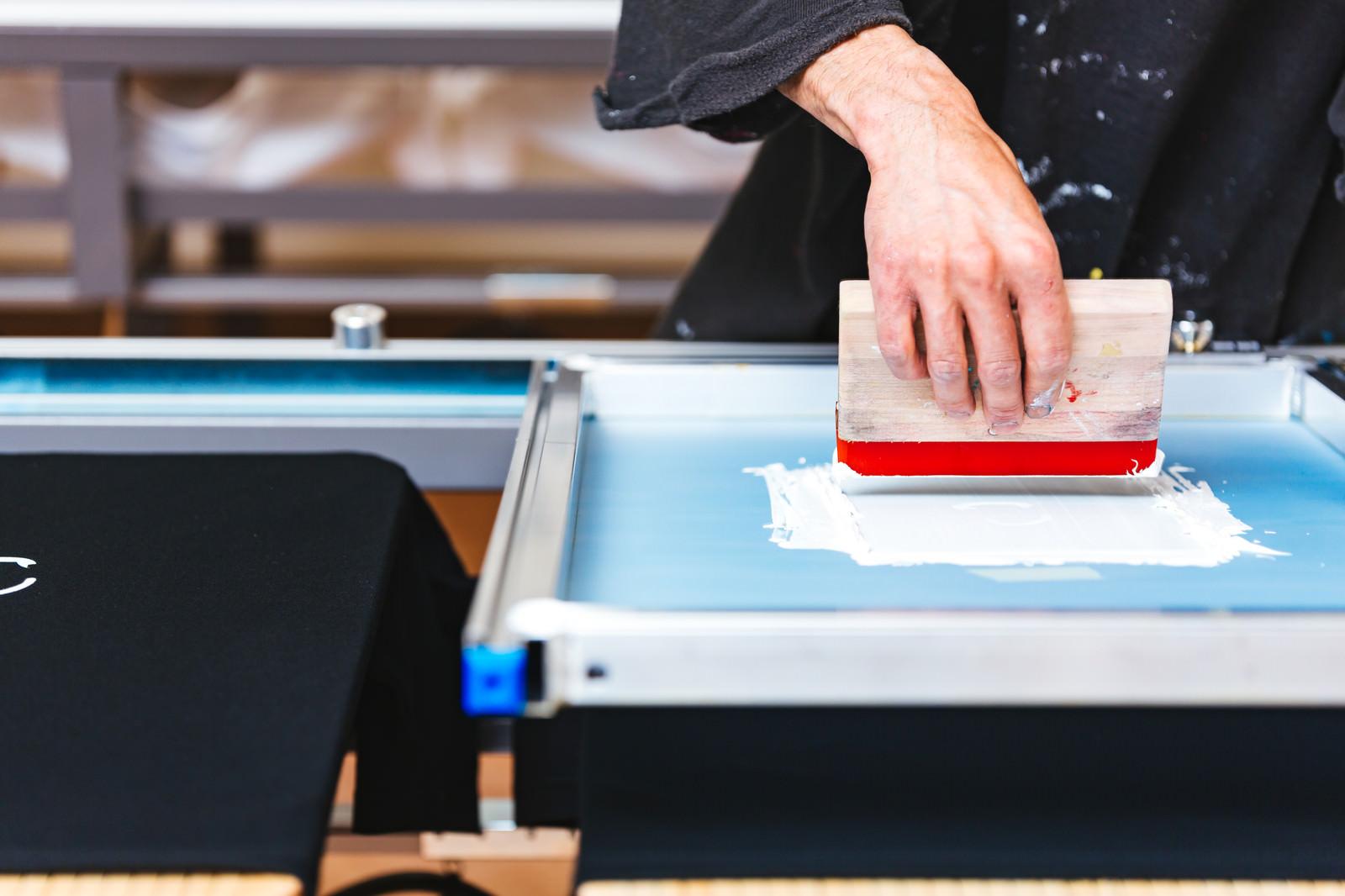「シルクスクリーン印刷を行なう職人の手元」の写真
