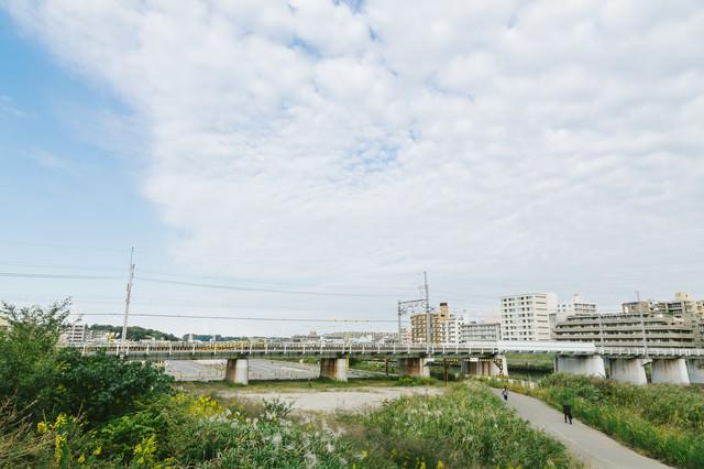青空広がる綱島の街並みの写真