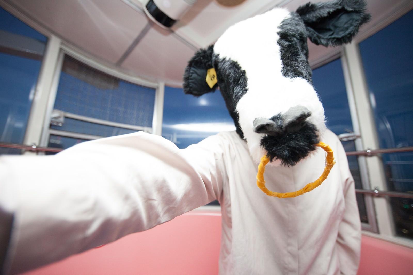 「壁ドンして取り立てるエト牛」の写真[モデル:古性のっち]