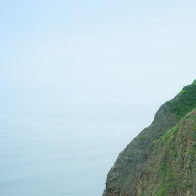 「緑の島と海」の写真素材