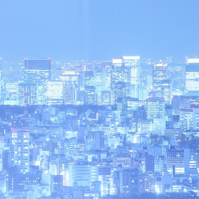 「輝く光を放つ東京夜景」の写真素材
