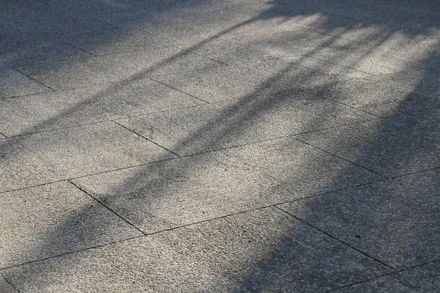 影が差し込む道の写真