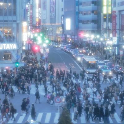 「近未来の幻想・東京渋谷スクランブル交差点」の写真素材