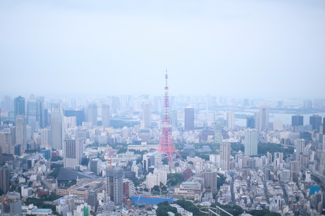 淡い雰囲気の東京タワー周辺の写真