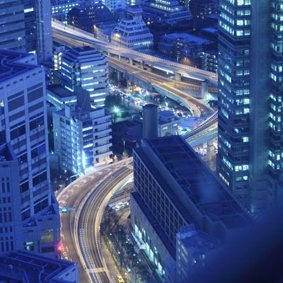 「一歩先には東京の高層夜景」の写真素材