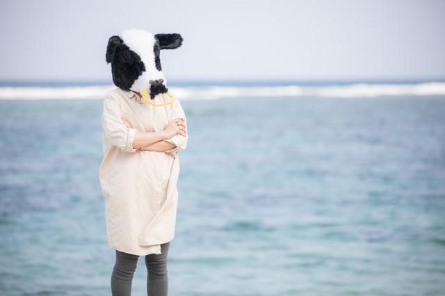 海辺で考えるエト牛の写真