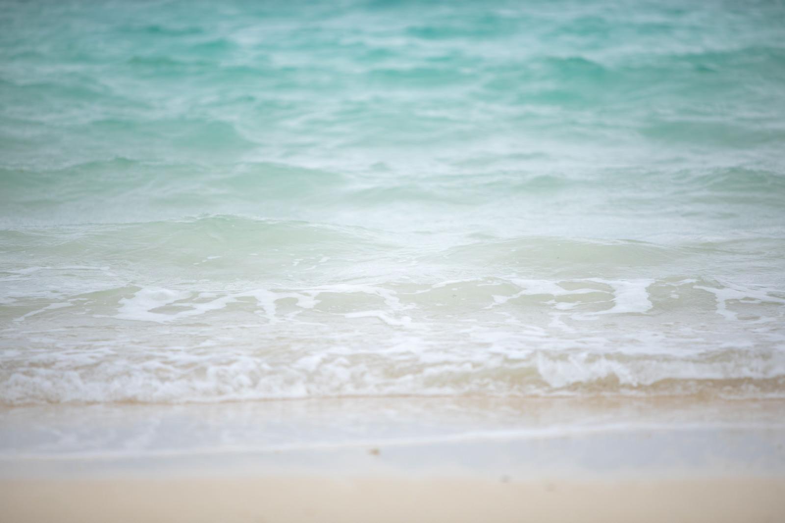 「エメラルドグリーンの海と砂浜」の写真