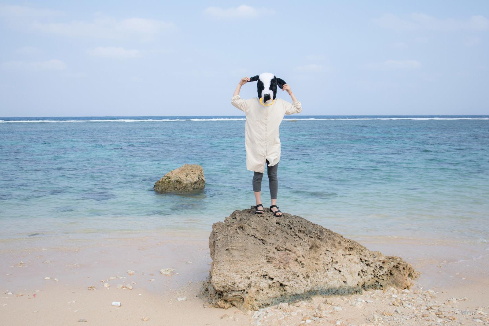 「宮古島の透き通る海を見てうかれる牛の彼女」の写真[モデル:古性のっち]