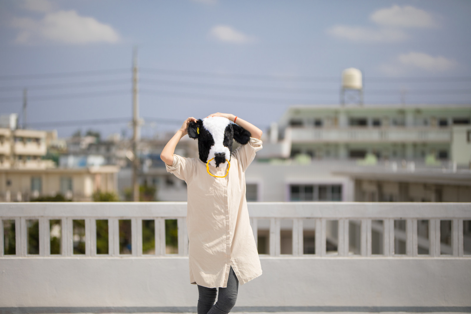 「晴れたので屋上からお送りします(エト牛)」の写真[モデル:古性のっち]