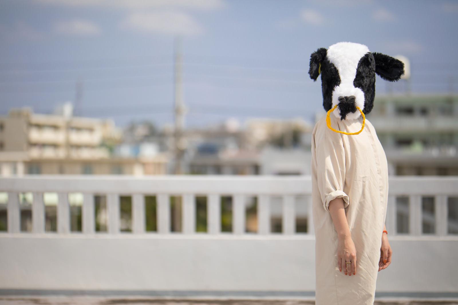 「立ちすくむ牛女」の写真