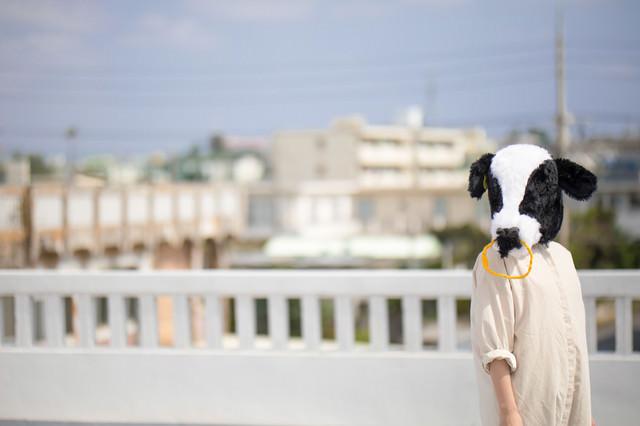 哀愁漂う牛人間の写真
