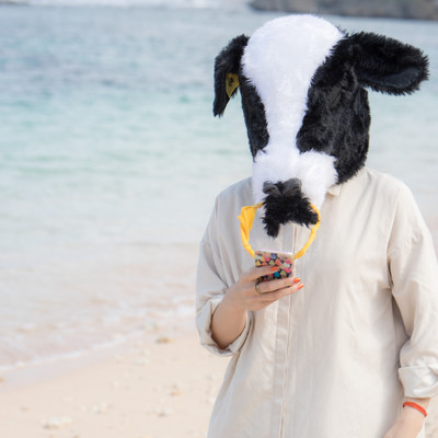 ぼっちバカンスでインスタ映えする牛ガールの写真