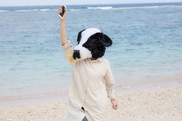 海で水没したスマホが無事だった牛女の写真