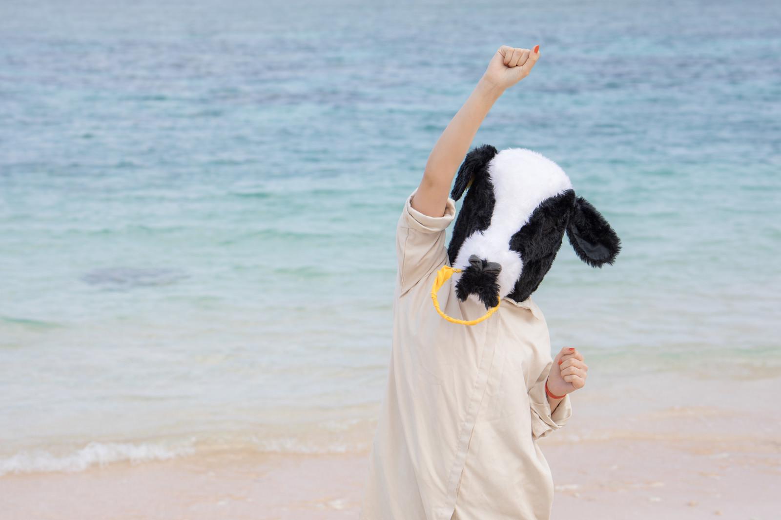 「宮古島の透き通る海を見てテンションがあがる牛人間」の写真[モデル:古性のっち]