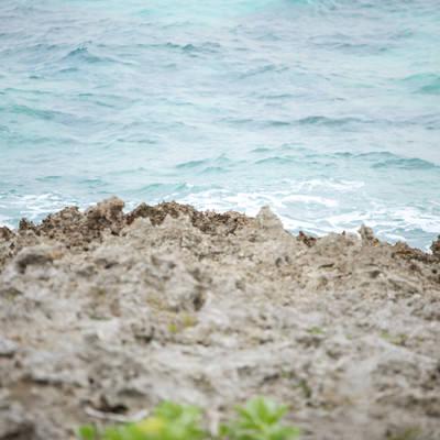 岩場から見える海の写真