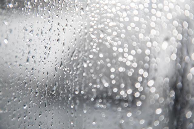 窓につく雨の水滴の写真