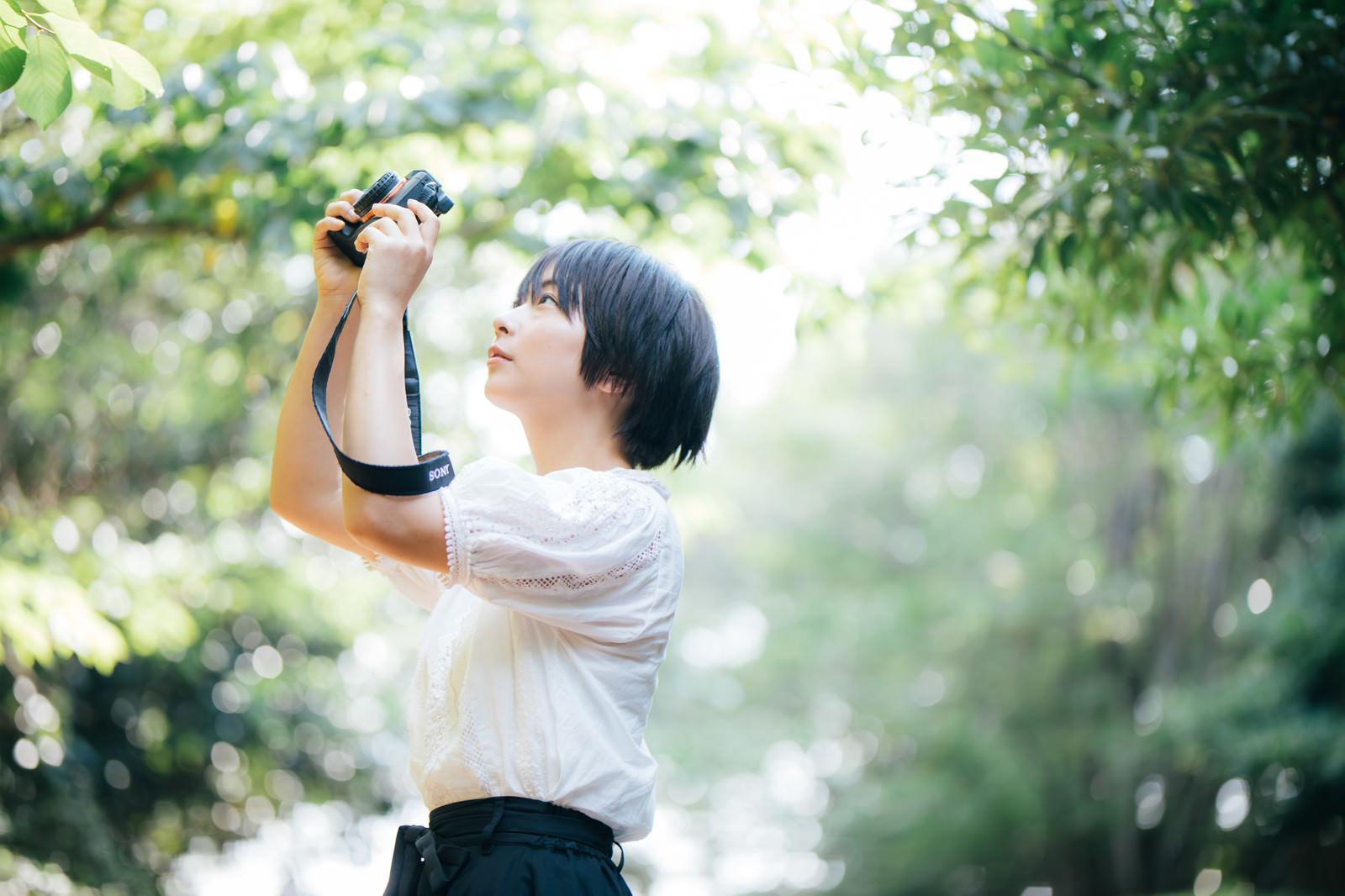 「新緑の中で撮影するカメラ女子」の写真[モデル:にゃるる]